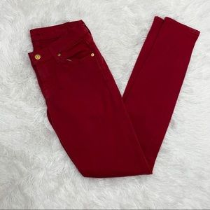 7 For All Mankind Dark Red Skinny Jeans